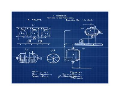 Brewing Process 1885 Blueprint-Bill Cannon-Giclee Print