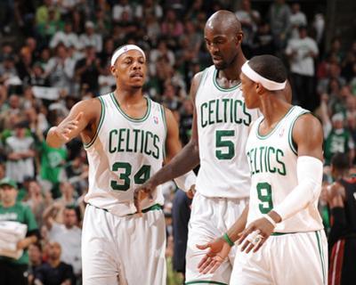 Boston, MA - June 3: Paul Pierce, Kev and Rajon Rondo