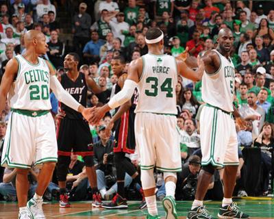 Miami Heat v Boston Celtics - Game Four, Boston, MA - MAY 9: Ray Allen, Paul Pierce and Kevin Garne