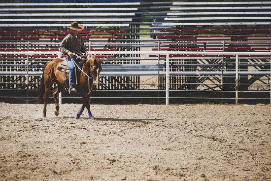 Brian Billings Exercising His Horse At The Oakley Rodeo Grounds, Oakley, Utah-Louis Arevalo-Photographic Print