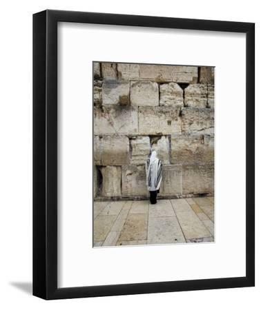 Man Wearing Prayer Shawl (Tallith) Praying at Western Wall