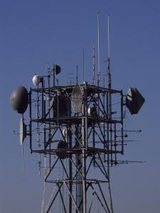 Microwave Tower Bristles with Antennas and Transmitters by Brian Gordon Green