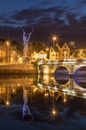 Beacon of Hope Statue, Lagan Bridge and Town of Belfast, County Antrim, Northern Ireland, Uk by Brian Jannsen