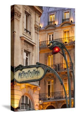 Evening at the Metro Stop Saint Michel in the Latin Quarter, Paris, France