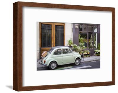 Fiat on the Sidewalk at the Florist Shop, les Marais, Paris, France