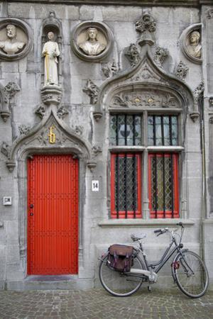 Red Door into the Historic Basilica of the Holy Blood, Bruges, Belgium by Brian Jannsen
