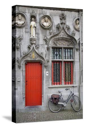 Red Door into the Historic Basilica of the Holy Blood, Bruges, Belgium
