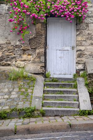 Stone wall with a wooden door and roses, Montmartre, Paris, France. by Brian Jannsen