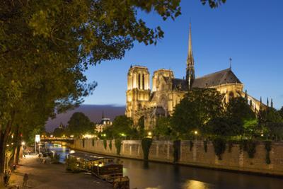 Twilight Along River Seine Below Cathedral Notre Dame, Paris, France by Brian Jannsen