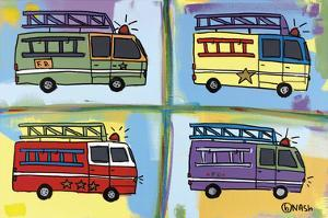 Four Fire Trucks by Brian Nash
