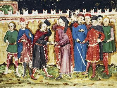 Bribing Tax Officials at the City Gates, Miniature from the Book of Privileges of Brescia--Giclee Print