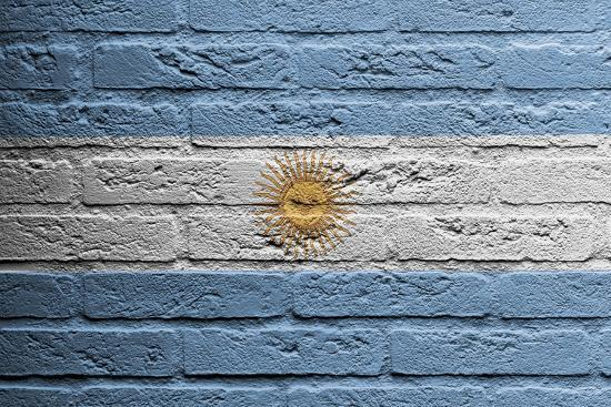 Brick Wall With A Painting Of A Flag, Argentina-Micha Klootwijk-Art Print