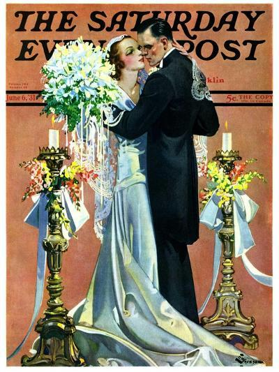 """""""Bridal Couple Dancing,"""" Saturday Evening Post Cover, June 6, 1931-Elbert Mcgran Jackson-Giclee Print"""