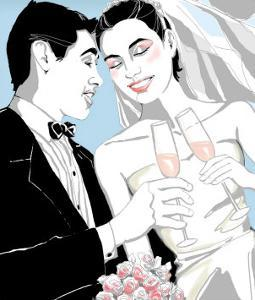 Bridal Couple Toasting with Champagne Glasses