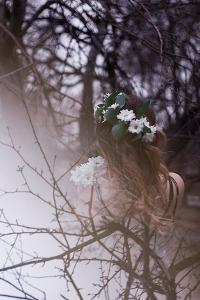 Girl Backs Double Exposure Flowers by Briday