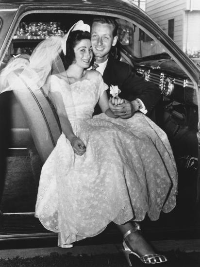 Bride and Groom Posing in Car, Portrait-George Marks-Photographic Print