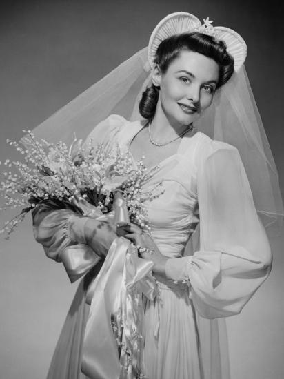 Bride Holding Bouquet, Posing in Studio, Portrait-George Marks-Photographic Print