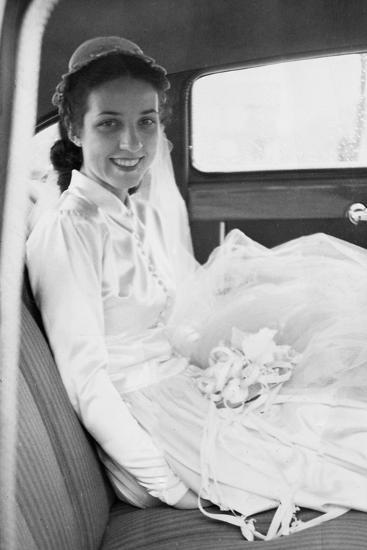 Bride in the Backseat of Car, Ca. 1950--Photographic Print