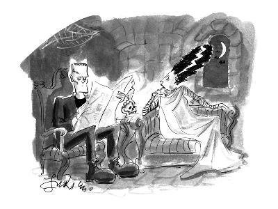 Bride of Frankenstein talking to husband reading newspaper. - Cartoon-Edward Frascino-Premium Giclee Print