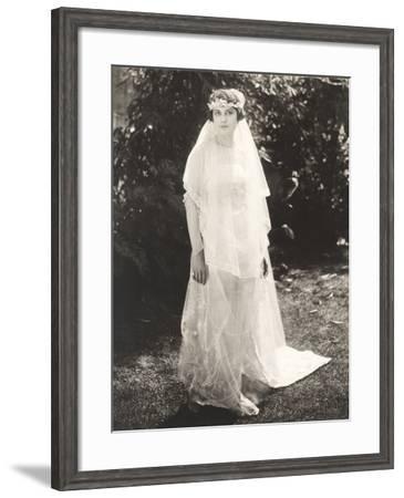 Bride Posing in Back Yard--Framed Photo