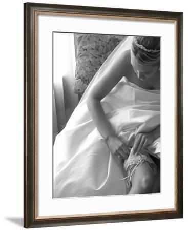 Bride Pulling Up Garter-Abraham Nowitz-Framed Photographic Print
