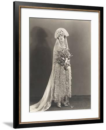 Bride Wearing Ruffled Wedding Gown and Flowered Headdress--Framed Photo