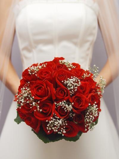 Bride with bridal bouquet--Photographic Print