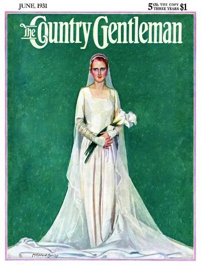 """""""Bride with Calla Lilies,"""" Country Gentleman Cover, June 1, 1931-McClelland Barclay-Giclee Print"""