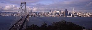 Bridge across a Bay with City Skyline in the Background, Bay Bridge, San Francisco Bay, San Fran...
