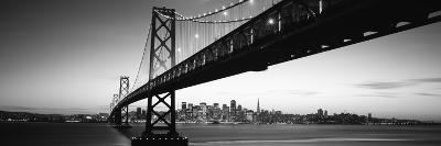 Bridge across a Bay with City Skyline in the Background, Bay Bridge, San Francisco Bay--Photographic Print