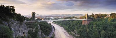 Bridge across a River at Sunset, Clifton Suspension Bridge, Avon Gorge, Avon River, Bristol, Eng...