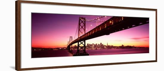 Bridge across Bay with City Skyline in Back, Bay Bridge, San Francisco Bay, California--Framed Photographic Print