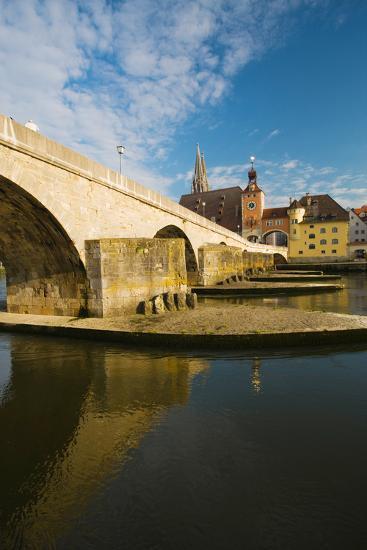 Bridge across the River, Steinerne Bridge, Danube River, Regensburg, Bavaria, Germany--Photographic Print