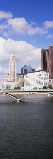 Bridge across the Scioto River with skyscrapers in the background, Columbus, Ohio, USA--Photographic Print
