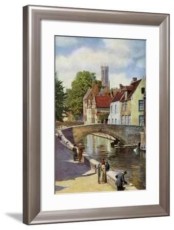 Bridge and Green Quay, Bruges, Belgium, C1924-Horace W Nicholls-Framed Giclee Print