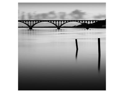Bridge and Poles in Black and White-Shane Settle-Art Print
