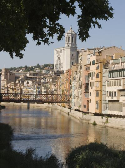 Bridge, Cathedral and Painted Houses on the Bank of the Riu Onyar, Girona, Catalonia, Spain-Martin Child-Photographic Print