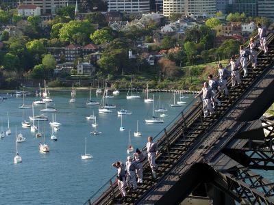 Bridge Climbers on Sydney Harbor Bridge, Sydney, Australia-David Wall-Photographic Print