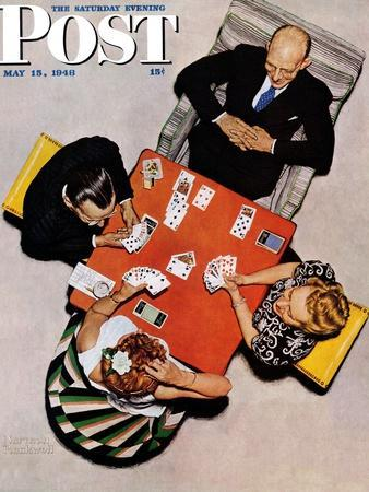 """""""Bridge Game"""" or """"Playing Cards"""" Saturday Evening Post Cover, May 15,1948-Norman Rockwell-Giclee Print"""