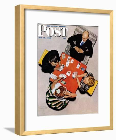 """""""Bridge Game"""" or """"Playing Cards"""" Saturday Evening Post Cover, May 15,1948-Norman Rockwell-Framed Giclee Print"""