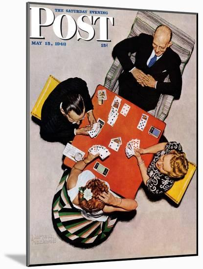 """""""Bridge Game"""" or """"Playing Cards"""" Saturday Evening Post Cover, May 15,1948-Norman Rockwell-Mounted Giclee Print"""