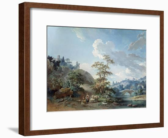 Bridge in a Valley, 1778-Jean-Baptiste Huet-Framed Giclee Print