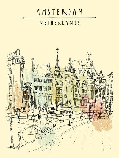 Bridge in Amsterdam, Holland, Netherlands Europe. Dutch Traditional Historical Buildings. Typical D-babayuka-Art Print