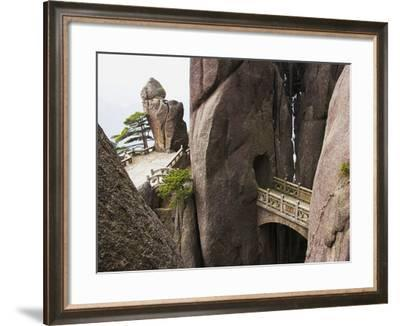Bridge in the Huangshan Mountains-Frank Lukasseck-Framed Photographic Print
