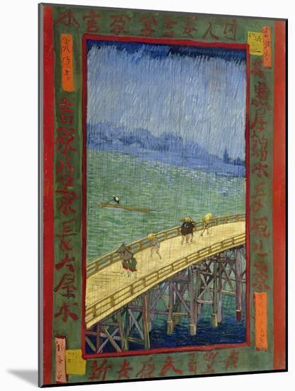 Bridge in the Rain (After Hiroshige)-Vincent van Gogh-Mounted Giclee Print