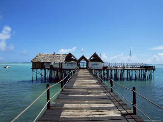 Bridge Leading to a Bar on the Water, Kiwengwa Beach, Zanzibar, Tanzania, East Africa, Africa-Yadid Levy-Photographic Print