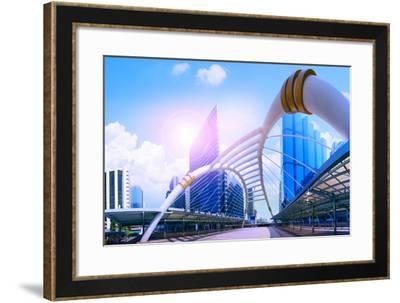 Bridge Link between Mrt and Bts Mass Transportation in Heart of Bangkok Newly Modern Important Land-stockphoto mania-Framed Photographic Print