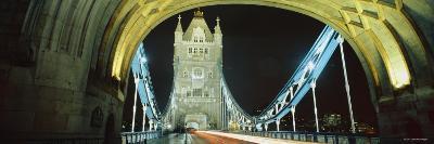 Bridge Lit Up at Night, Tower Bridge, London, England--Photographic Print