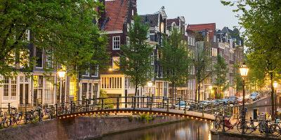 Bridge over Brouwersgracht in Western Grachtengordel Canal Ring at Dusk, Amsterdam--Photographic Print