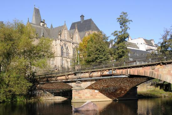 Bridge over the Lahn River and Medieval Old University Buildings, Marburg, Hesse, Germany, Europe-Nick Upton-Photographic Print